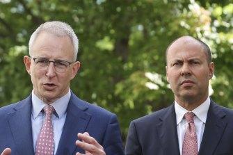 Communications Minister Paul Fletcher (L) and Treasurer Josh Frydenberg (R) have led the government's plans to legislate the news media bargaining code.