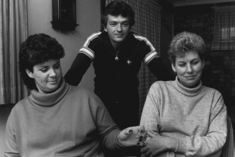 """I appealed to the Repatriation Tribunal after my husband died, and I have documents officially acknowledging his cancer was caused by exposure to herbicides in Vietnam. How do they explain that? And Justice Evatt comes out saying it is time for rejoicing,"" said Mrs Lorraine Simpson (right) with her neighbours Robert and Lynette Pitt, August 22, 1985."
