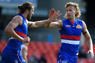 Bontempelli with Aaron Naughton, who was back in form with six goals last week.