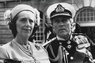 Margaret Tyzack as the Queen and Christopher Lee as Prince Philip in a scene from Charles & Diana: A Royal Love Story.