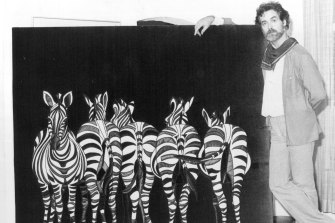 Stewart Merrett and one of his works in 1979.