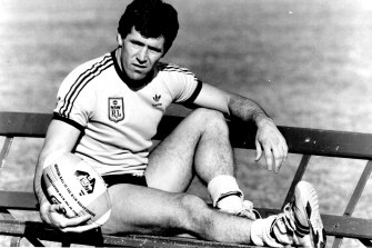 Steve Folkes relaxes during training before a State of Origin clash in 1986.