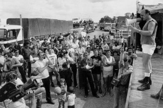Ted Stevens talks to drivers at the Razorback blockade April 7, 1979.