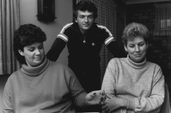 """""""I appealed to the Repatriation Tribunal after my husband died, and I have documents officially acknowledging his cancer was caused by exposure to herbicides in Vietnam. How do they explain that? And Justice Evatt comes out saying it is time for rejoicing,"""" said Mrs Lorraine Simpson (right) with her neighbours Robert and Lynette Pitt, August 22, 1985."""