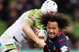 Felise Kaufusi of the Storm cops a tackle.