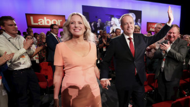 Chloe Shorten, pictured with her Labor leader-husband, Bill Shorten, says she will work to promote an end to violence against women if Mr Shorten is elected Prime Minister.