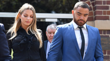 Dylan Walker and Alexandra Ivkovic leave Manly Local Court hand in hand in December.