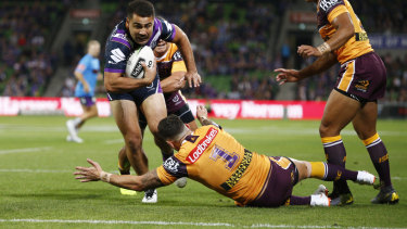 Jahrome Hughes heads for the try line to score the NRL season-opening try at AMMI Park on Thursday night in Storm's round one game against Brisbane.