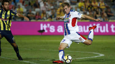 Missile: Riley McGree winds up before striking a first-half goal for the Jets.