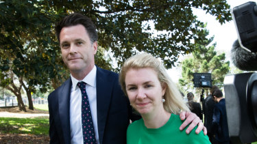 Labor MP Chris Minns with his wife Anna Minns.