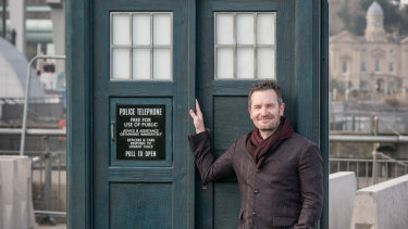 Wibbly, wobbly, timey, wimey:  Australian screenwriter Pete McTighe with Doctor Who's iconic Tardis.