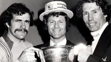 All-time greats: Hawthorns vice-captain Leigh Matthews (left), coach David Parkin (centre) and captain Don Scott (right) after winning the 1978 VFL premiership