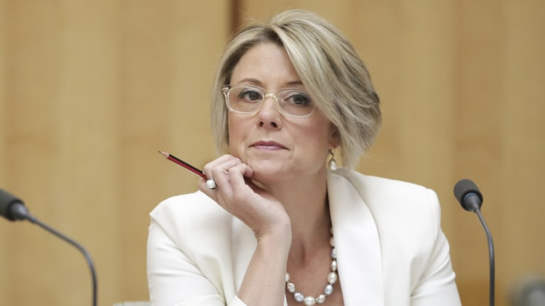 Senator Kristina Keneally, who has led Labor's probe into the Great Barrier Reef Foundation, during an estimates hearing at Parliament House in Canberra in May.
