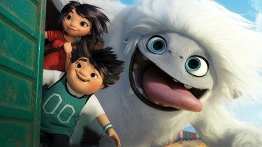 Yi (Chloe Bennet), Peng (Albert Tsai) and Everest the Yeti in  Abominable.