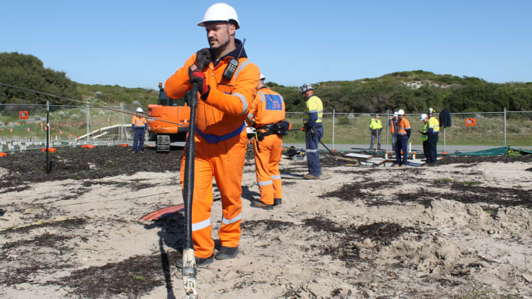The Indigo subsea internet cable landing at Floreat beach on Wednesday morning.