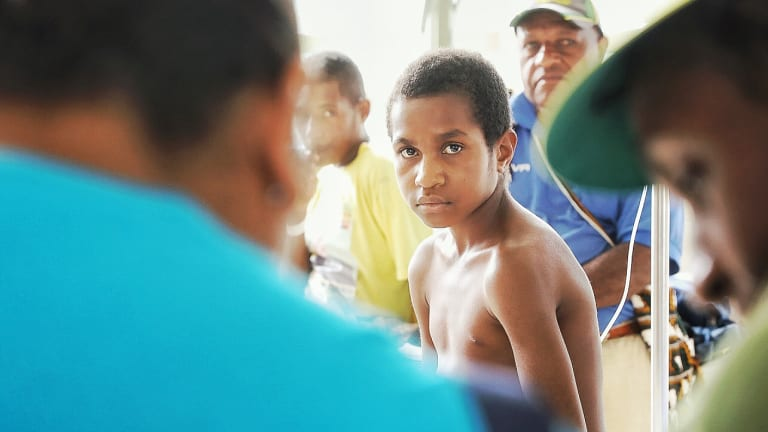 Manu Tony was trapped under a house post which fell on his leg, for three hours before being rescued.