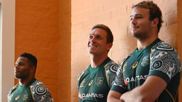 Filipo Daugunu, Dane Haylett-Petty and Harry Wilson wearing the Wallabies First Nations jersey on Wednesday in Sydney.