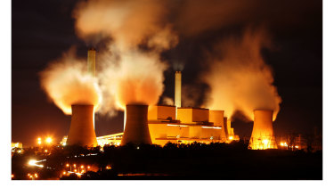Steam and smoke billowing from Victoria's Loy Yang brown coal-fired power station.