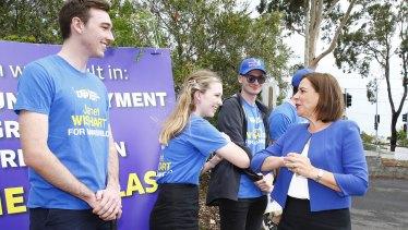 Deb Frecklington at Mount Gravatt East, in the marginal Brisbane seat of Mansfield.