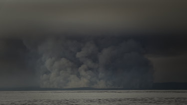 Smoke from fires at Cann River seen across the water in Bass Strait.
