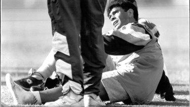 Diego Maradona trains at Wentworth Park greyhound track.