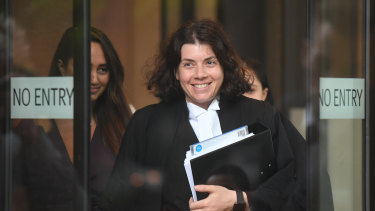 Sue Chrysanthou, SC, leaving the Law Courts complex in Sydney in 2019.
