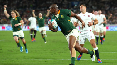 Makazole Mapimpi breaks through to score his team's first try during any World Cup final.