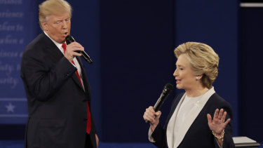 Donald Trump and Hillary Clinton at their second presidential debate in 2016.