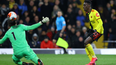 Ismaila Sarr of Watford scores his team's second goal.