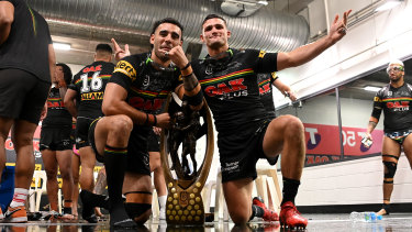 The Panthers may have crossed the line in their grand-final celebrations.