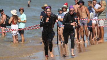 Dominique Hart heads towards the finishing line at the Portsea Swim Classic.