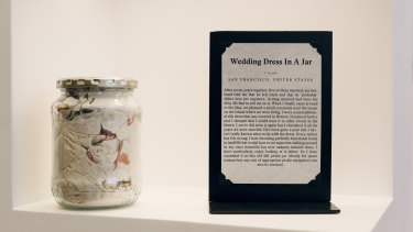 A wedding dress in a pickle jar at the Museum of Broken Relationships in Los Angeles in 2016. The Australian exhibit will feature some overseas items.