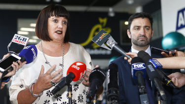 Complicated: Rugby Australia CEO Raelene Castle speaks to the media after a meeting with Folau.