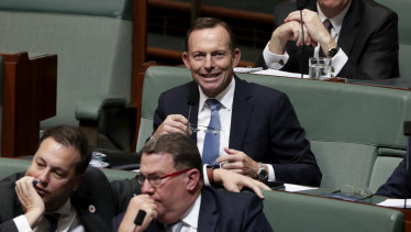Former prime minister Tony Abbott in question time on Tuesday.