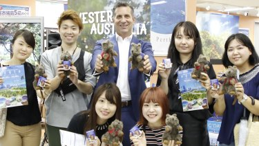Tourism Minister Paul Papalia promoting the new direct flights between Tokyo and Perth.