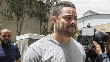 Jarryd Hayne reporting to Castle Hill police station on Thursday.