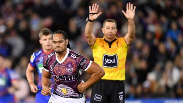 Marty Taupau gets his marching orders in Newcastle on Sunday.