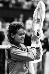 Elation for the new women's singles champion in 1980, Evonne Cawley.
