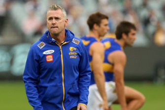 Eagles coach Adam Simpson has been checking in on staff and players since they left the club this week.