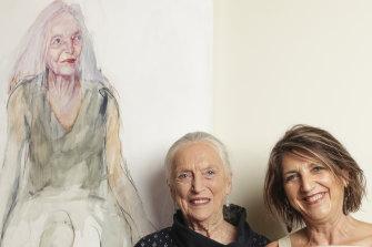 Elizabeth Dalman and Anthea da Silva at the announcement of the Darling Portrait Prize.