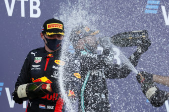 Champagne all round after the Russian Formula One Grand Prix in Sochi on Sunday.
