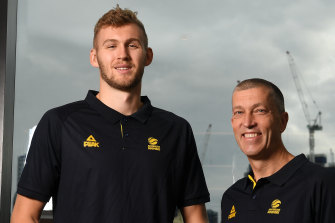Lemanis with Boomers squad member Jock Landale.