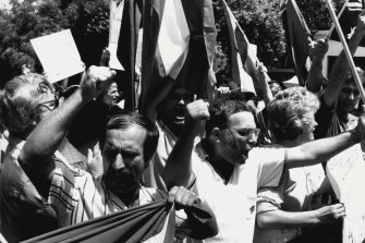 Demonstration outside the Yugoslav Embassy for Josef Tokic, shot  by an embassy guard.