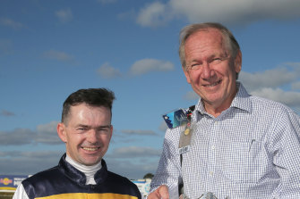 Syndicator Terry Henderson, pictured (right) with jockey Dean Yendall, says horses like Involved should never be allowed to come to Australia.