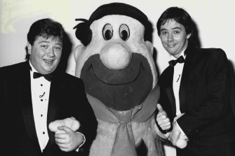 Coleman (left) pictured in 1987 during an episode of Have a Go.
