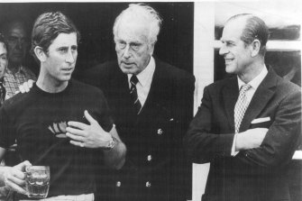 Prince Charles and Prince Philip pictured with Lord Mountbatten (centre) not long before the fatal bombing.
