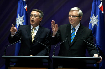 Treasurer Wayne Swan and Prime Minister Kevin Rudd announce their economic stimulus package during the Global Financial Crisis in 2008.