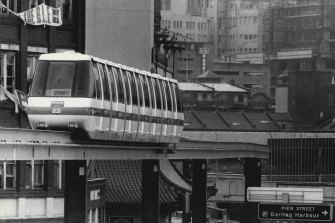 The monorail pictured on February 13, 1988.