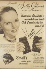 Sally Gilmour in a 1948 ad for Small's Club Chocolate.