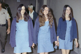 Susan Atkins, Patricia Krenwinkel and Leslie Van Houten walk to court in August 1970 to be tried for the killings of seven people a year earlier.